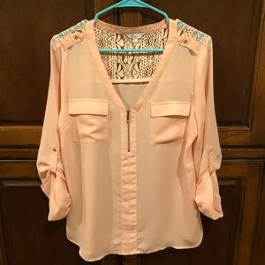 Peach business casual blouse
